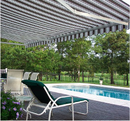 An Awning over a patio, find retractable awnings, motorized awnings and Sunsetter Awnings at Total Home Solutions.
